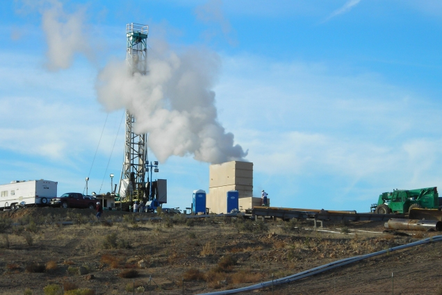 The photo shows the U.S. Geothermal Neal Hot Springs geothermal project site during the well test stages.  This year the completed power plant won the GEA Honors Technological Advancement award.