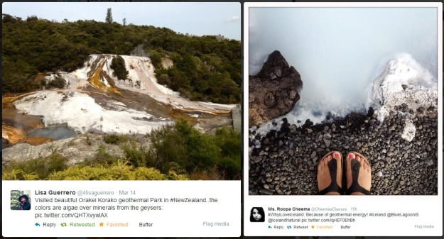 Geothermal photos via Twitter users @4lisaguerrero in New Zealand and @CheemasClasses in Iceland
