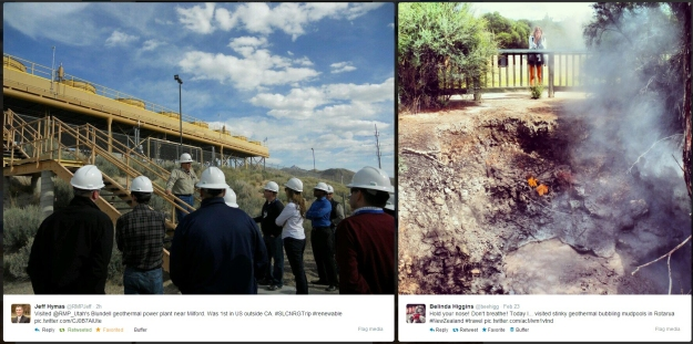 Geothermal photos via Twitter users @RMPJeff in Utah and @beehigg in New Zealand.