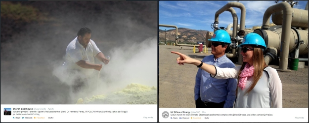 Geothermal photos via Twitter users @GeoTenerife in Spain and @NevGOE in Nevada.