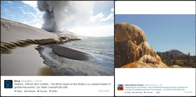 Geothermal photos via Twitter users @DruaMika in Papua New Guinea and @NatlParksPhotos in Wyoming