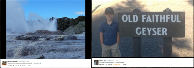 Geothermal photos via Twitter users @shazola61 in New Zealand and @mikelongsv in Yellowstone National Park, U.S.A.