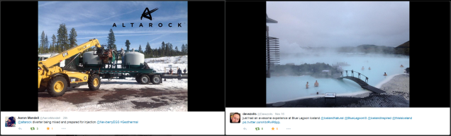 Geothermal photos via Twitter users @AaronMandell in Oregon and @davezolis in Iceland
