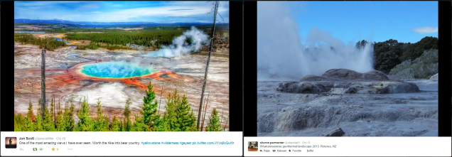 Geothermal photos via Twitter users @jonscottfilm in Yellowstone National Park, U.S. and @shazola61 in New Zealand