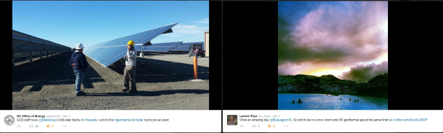 Geothermal photos via Twitter users @NevGOE in Nevada and @L_Faye in Iceland