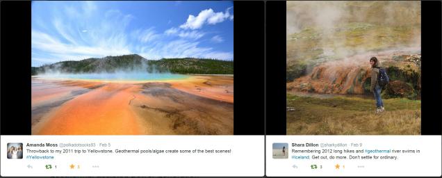 Geothermal photos via Twitter users @polkadotsocks93 and @sharkydillon