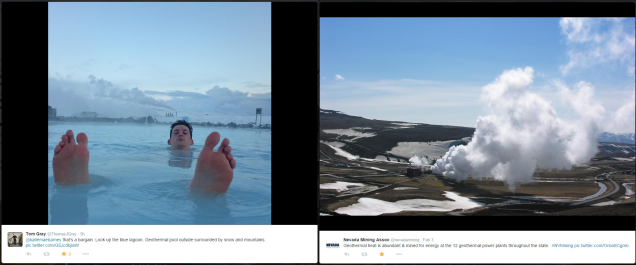 Geothermal photos via Twitter users @ThomasJGray and @nevadamining